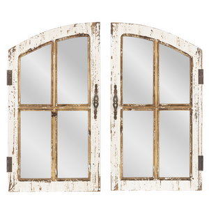 Distressed Window Pane Wall Mirror Set