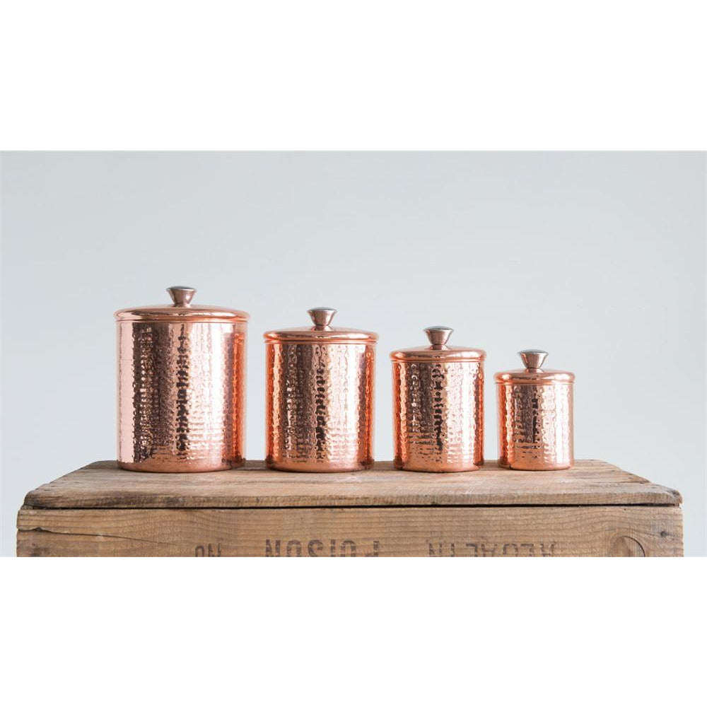 Hammered Stainless Steel Canisters