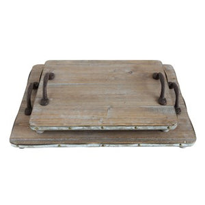 Wood Tray with Metal Accents