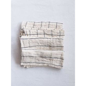 Cotton Napkins with Plaid & Stripes