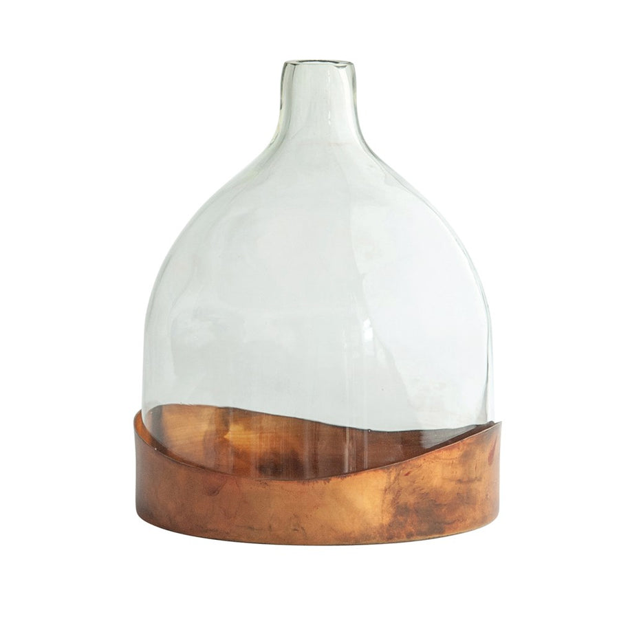 Glass Cloche W/Antique Copper Finish