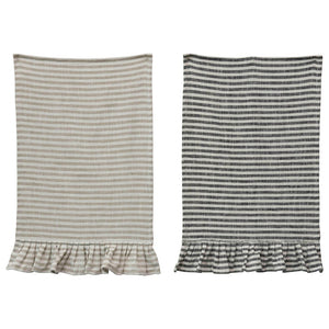Ruffle Striped Tea Towel