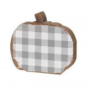 Checkered Wooden Pumpkins - Grey