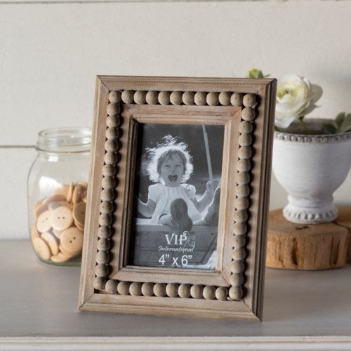 Wood Beaded Picture Frame