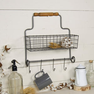 Wall Basket With Hooks
