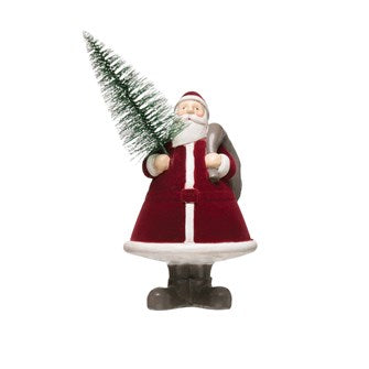 Flocked Resin Santa w/Tree - Small