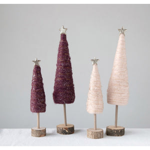 Sugar Plum Wool Sparkle Trees
