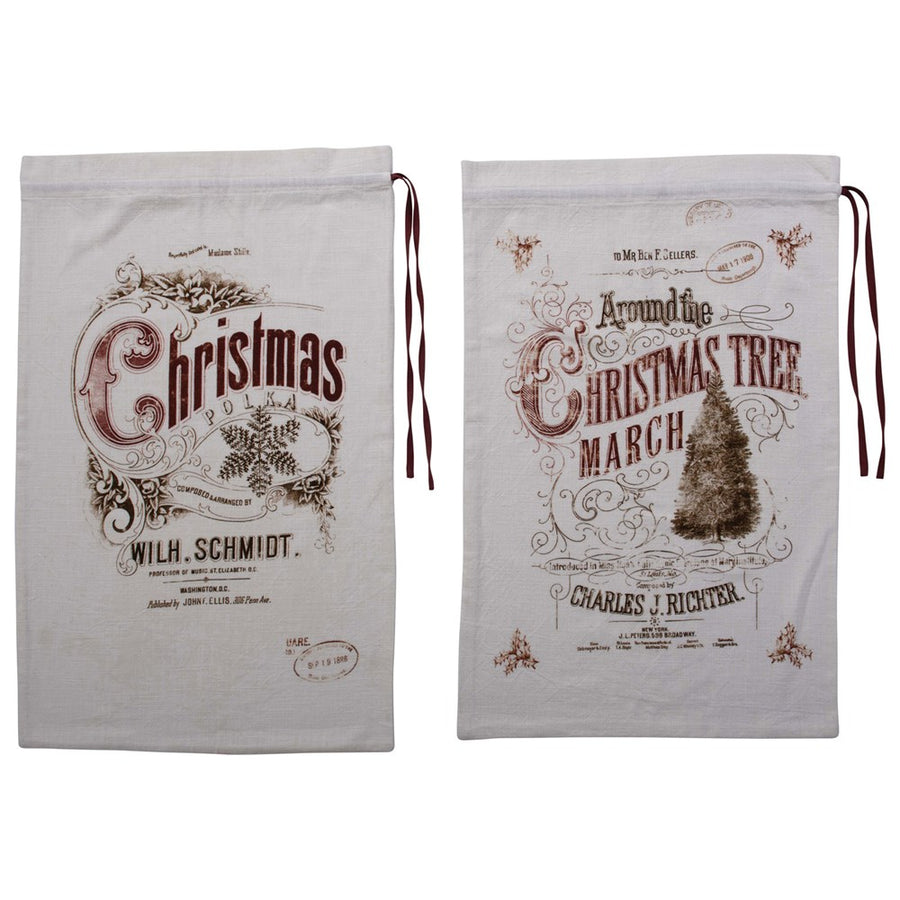 Vintage Print Holiday Sack
