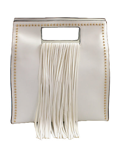 Stud Trim Fringe Square Tote In White