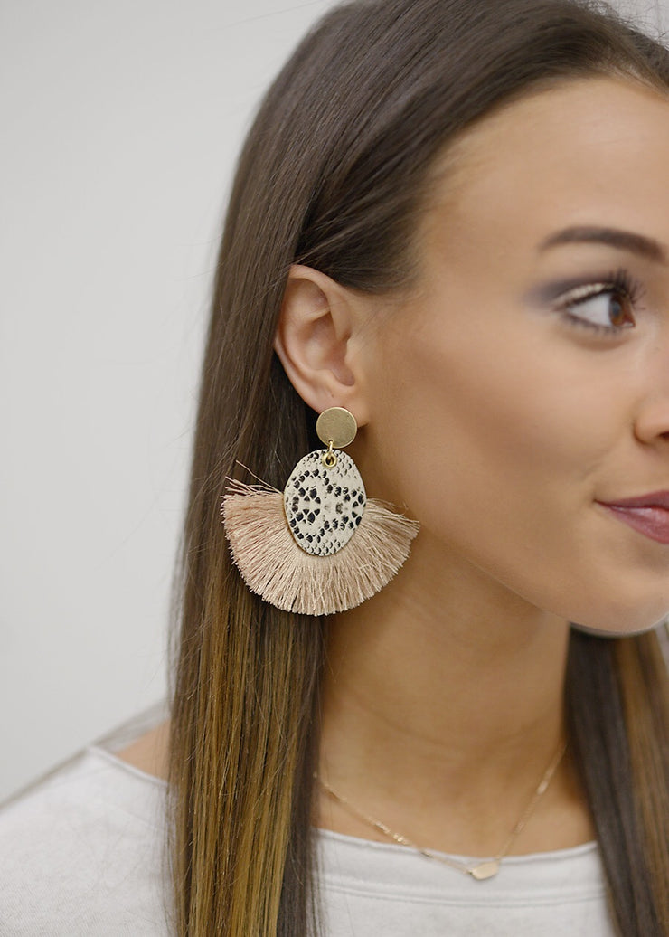 Snake Oval Leather Fan Tassel Earrings