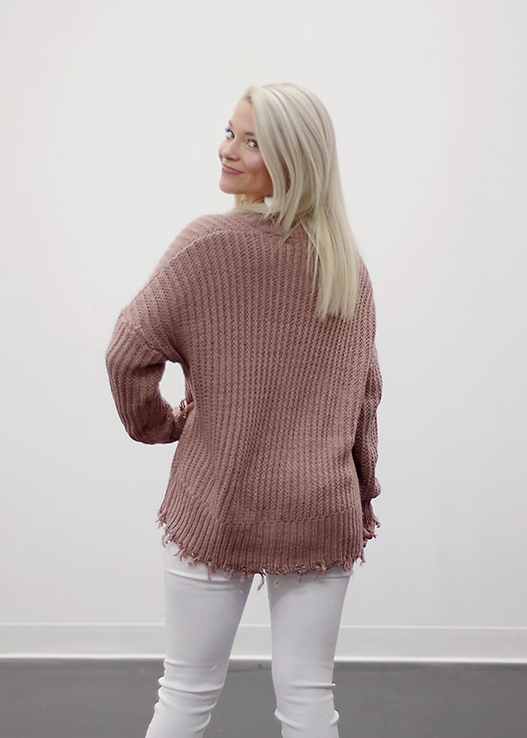 All Tore Up Sweater In Mauve