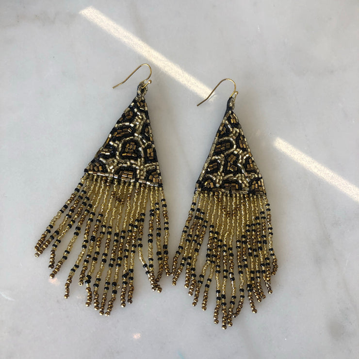 Triangle Bead Fringe Earrings In Gold