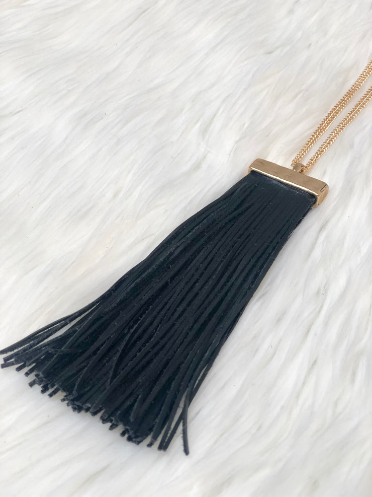 Leather Tassel Necklace Gold Chain
