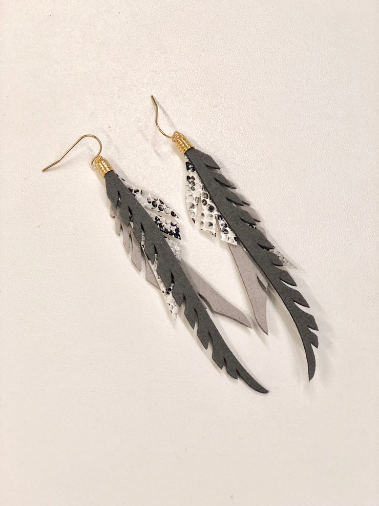 Snake Skin Layered Feather Earrings