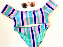Pink Blue and Stripes Swimsuit Bottom