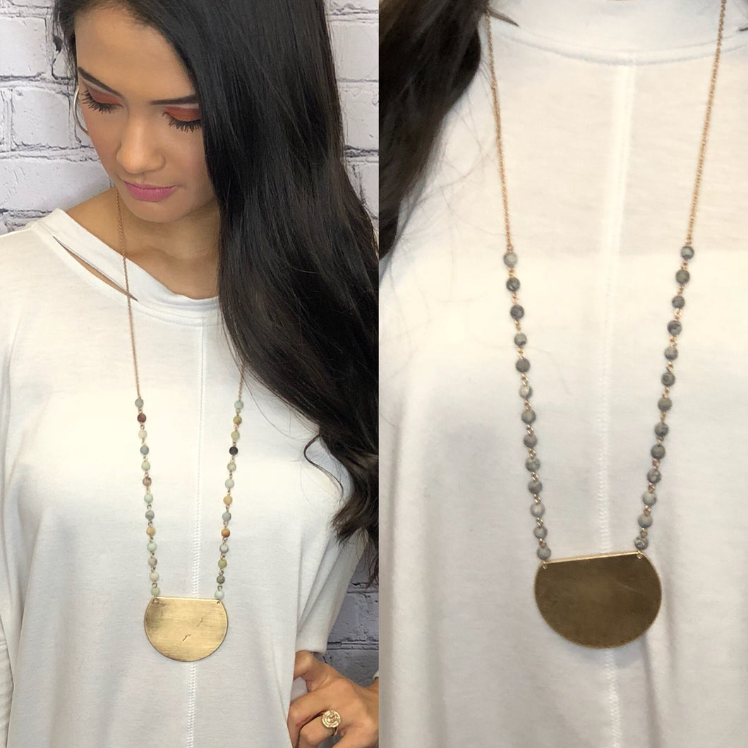 Metal Plate Pendant Necklace
