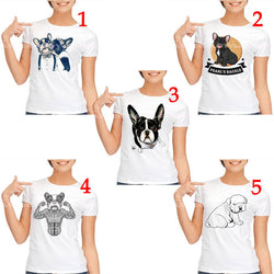 Cute English French Bulldog Outline Drawing Women's T-Shirt