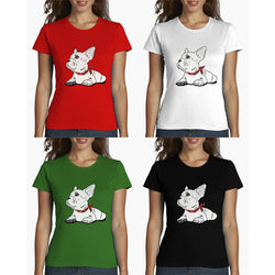 White French Bulldog Laying Looking Up Women's T-Shirt