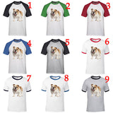 White Tan English Bulldog Portrait Baseball T-Shirt