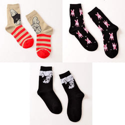 French Bulldog Head Pattern Stripe Crew Women's Sock