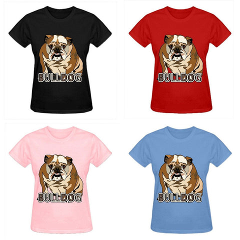 Brown English Bulldog Sitting Cartoon Women's T-Shirt