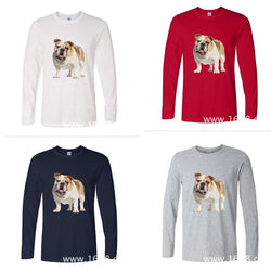 White Tan English Bulldog Portrait Long Sleeve Men's T-Shirt