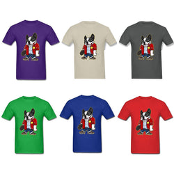 Cool French Bulldog Standing Holding Skateboard Men's T-Shirt