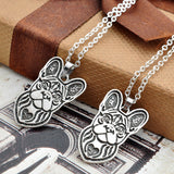 French Bulldog Head Outline Heart Pendant Necklace