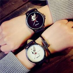 White Grey French Bulldog Mocca Leather Quartz Watch