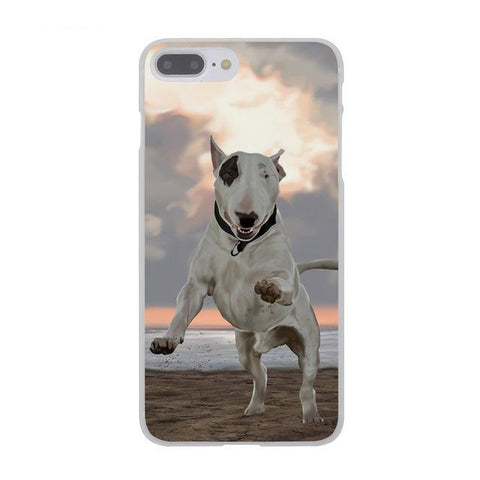 Bull Terrier Black Patch Jumping Sunset Phone Case for iPhone