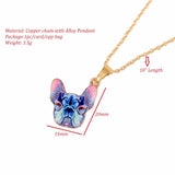 Colorful Bluish French Bulldog Head Pendant Necklace