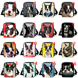 Boston Terrier Portrait, Cartoon Full Image Shoulder Bag