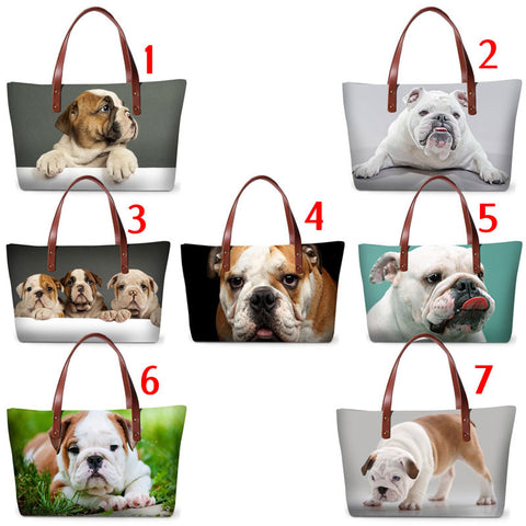 English Bulldog Full Size Portrait Leather Strap Shoulder Bag