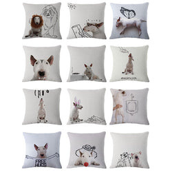 White Bull Terrier Black Outline Sketch Pillowcase