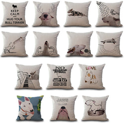 Bull Terrier Cartoon Portrait Background Outline Pillowcase