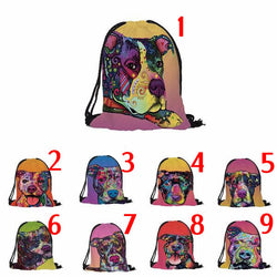 Colorful Design Pit Bull No Ear Crop Drawstring Backpack