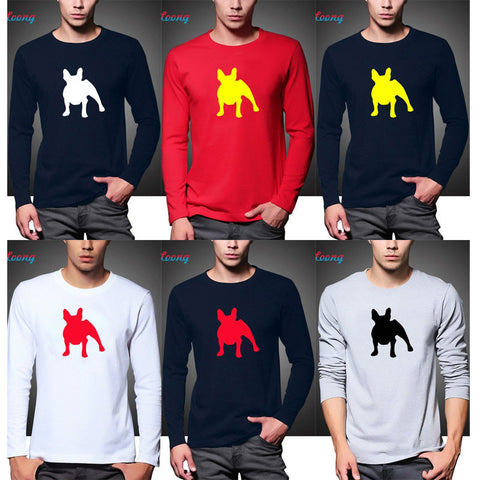 French Bulldog Silhouette Men's Long Sleeve Shirt