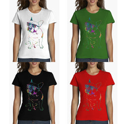 French Bulldog Sunglasses Colored Outline Women's T-Shirt