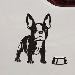 Boston Terrier Dog Bowl Decal Sticker