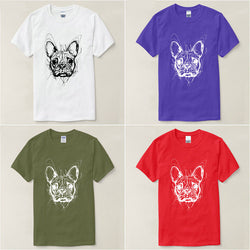 Messy French Bulldog Head Outline Men's T-Shirt