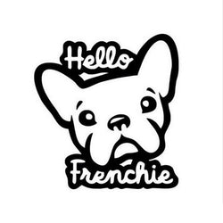 Hello Frenchie French Bulldog Head Outline Sticker