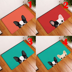 Peaking French Bulldog Cartoon Doormat