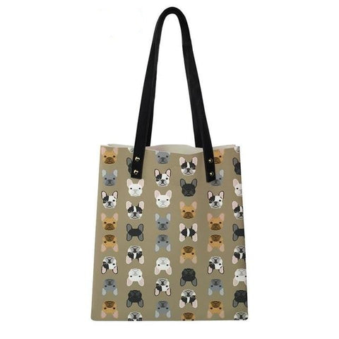 French Bulldog Head Pattern Brown Shoulder Bag