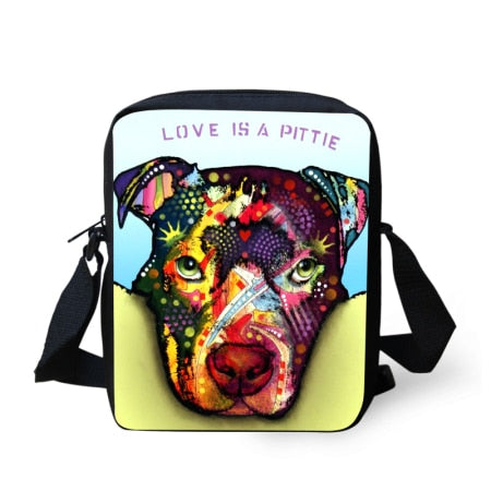 Love Is A Pittie Colorful Pit Bull Puppy Shoulder Bag