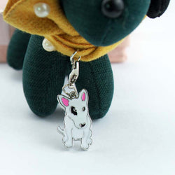 Cute Bull Terrier Black Patch Keychain