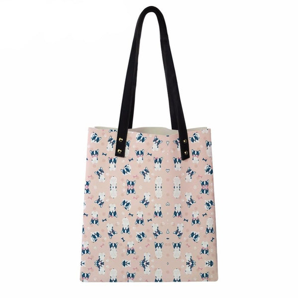 Cute French Bulldog Pattern Pink Shoulder Bag