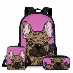 Brown French Bulldog Color Painting Pink Background Bag/Backpack Combo