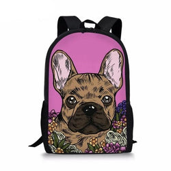 Brown French Bulldog Color Painting Pink Background Backpack