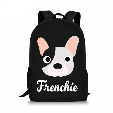 Frenchie Bulldog Head Circle Eyes Backpack