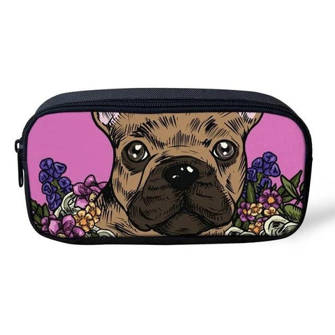 Brown French Bulldog Color Painting Pink Background Makeup/Pencil Bag